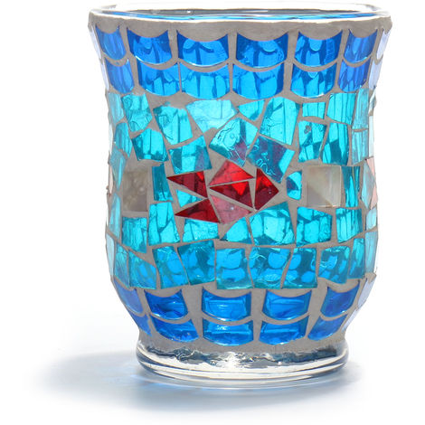 Christmas Mosaic Glass Candle Holder Home Decor Popular Gift B Hasaki
