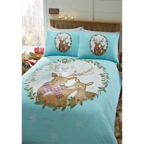 Christmas Mr And Mrs Stag Double Duvet Cover Set Reindeer Wreath Bedding Bed Set
