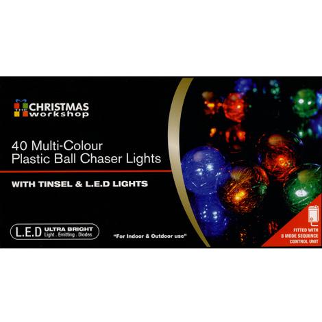 Christmas Multi Colour Tinsel Ball Chaser Light Set of 40