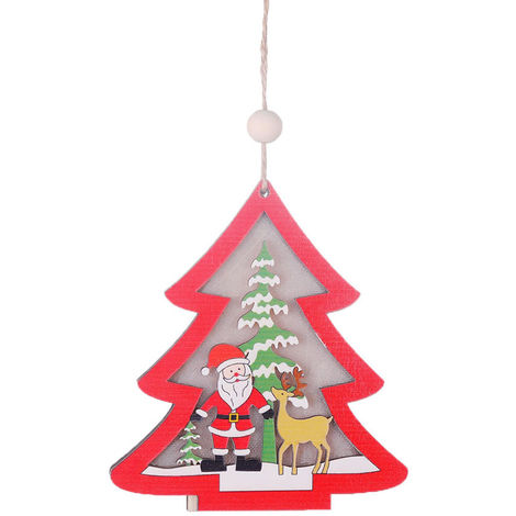 Christmas ornaments hollow wooden pendant creative with light ornaments
