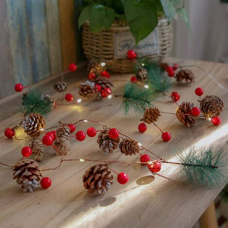"""main image of """"Christmas pine cone light string 30 LED 10 feet bells with berry copper, suitable for indoor and outdoor Thanksgiving Christmas fairy lights suitable for garden garland party decoration-3AA battery power warm white SOEKAVIA"""""""