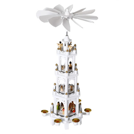 Christmas Pyramid Wooden German Style 4 Tier Rotating Scene Decoration Candle