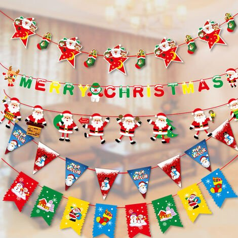 """main image of """"Christmas Reindeer Bunting, Santa Sleigh Banners for Party Decoration5 pieces of cartoon children pull flag L1"""""""