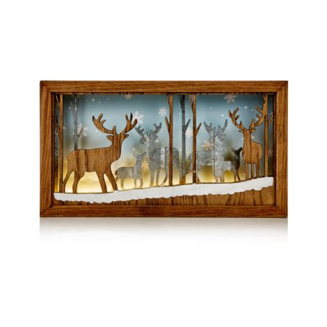 Christmas Reindeer Scene Wood Effect Table Decoration with Warm White LED's - 27 x15cm