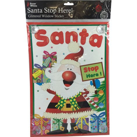 Christmas Santa Stop Here Glittered Window Sticker