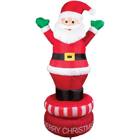 Christmas Shop 6ft Inflatable Rotating Santa (UK Plug) (One Size) (Red)