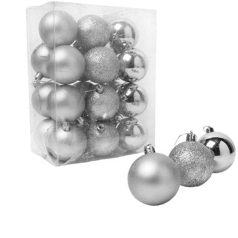 Christmas Shop Assorted Shatterproof 60mm Christmas Tree Bauble Set (24 Pack)