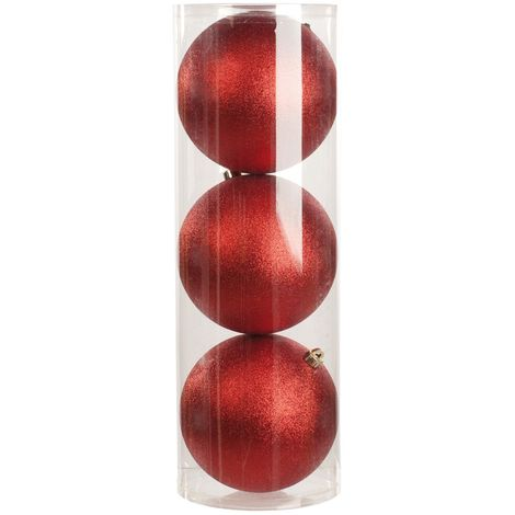Christmas Shop Glitter Baubles In Drum (Set Of 3)
