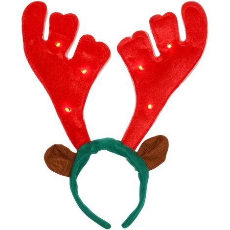 Christmas Shop - Serre-tête style bois de renne avec effet lumineux et sonore (Taille unique (40cm)) (Rouge/Vert)