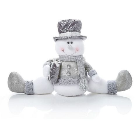 Christmas Shop Standing/Sitting Snowman Decoration (One Size) (Silver Sitting)