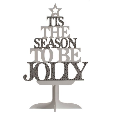 Christmas Shop Wooden Text Tree Decoration (One Size) (Silver/White)