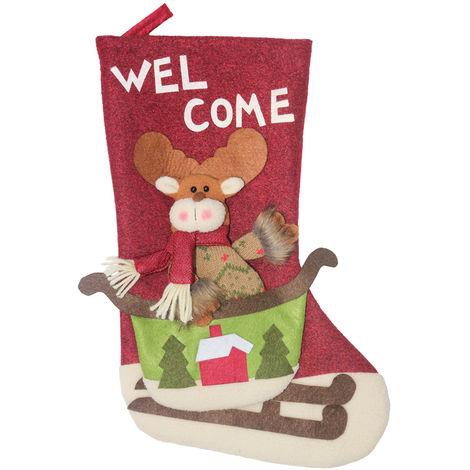 Christmas Socks Gift Bag Christmas Tree Pendant Decoration XD20228 Red
