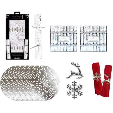 Christmas Tableware Set Festive Table Decor Personalised Crackers Mats Silver