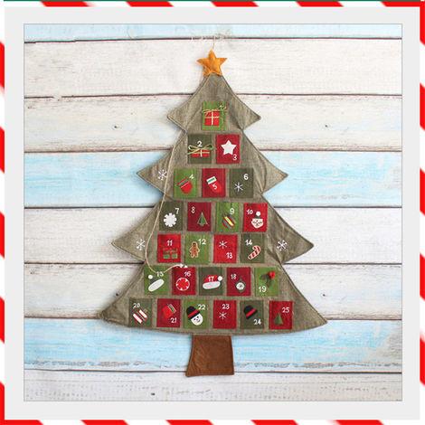 Christmas Timer Advent Calendar Tree Pocket Ornaments Christmas Home Decoration Hasaki