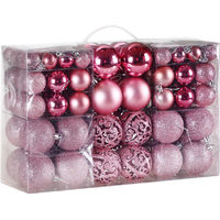Christmas Tree Baubles 100 Pieces Pink