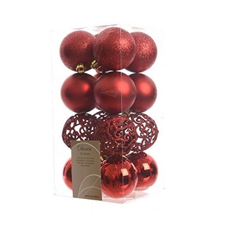 Christmas Tree Baubles Decorations Shatterproof - Christmas Red - 16 Pack