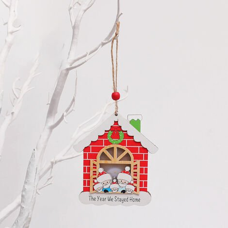 """main image of """"Christmas Tree Decoration Wooden House Glow Ornament Survived Family Christmas Hanging Ornament Home Decor"""""""
