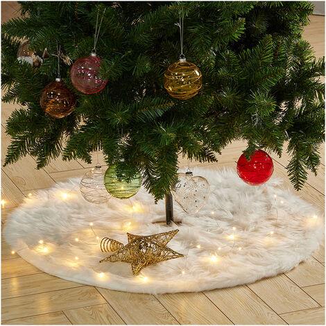 "main image of ""Christmas Tree Large Snow Plush Skirt Base Floor Mat Cover Faux Fur Decor Xmas"""