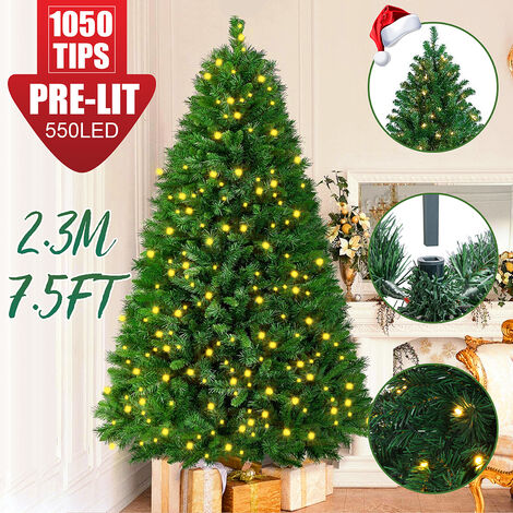 Christmas Tree LED Light Snow Flocked Home Assembled Party Decor 7.5Ft
