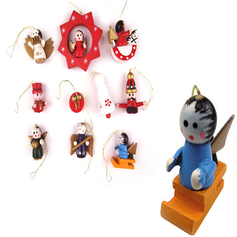 Christmas Tree Ornaments Wooden Pendant 10pcs&1