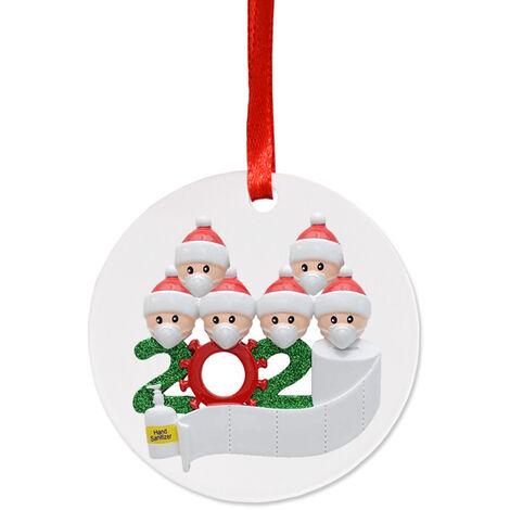 Christmas tree pendant PVC round white man with 6 heads