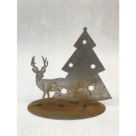 Christmas Tree & Reindeer Silhouette