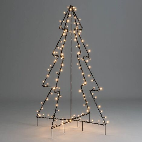 Christmas Tree Silhouette Light Black Standing LED Outdoor Decoration Christow - 4ft / 140 LEDs