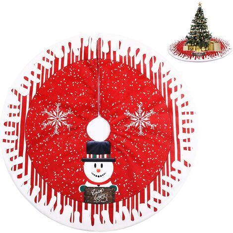 """main image of """"Christmas Tree Skirt, Christmas Tree Rug, Christmas Tree Blanket, Red Christmas Tree Skirt for Home, Holidays, Snowman Christmas Tree Decoration (80cm)"""""""