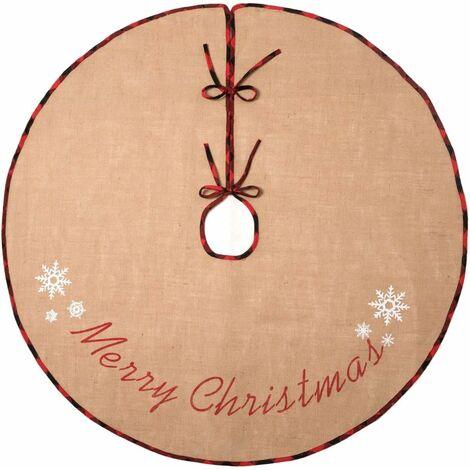 "main image of ""Christmas Tree Skirt Rug Burlap Tree Skirt Snowflake Printed Christmas New Year Holiday Decoration Indoor Outdoor"""