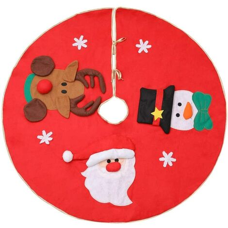 """main image of """"Christmas Tree Skirts, 100cm Red Tree Skirts with Reindeer Snowman Santa Claus, Christmas Tree Mat for Christmas New Year Holiday Ornaments Party Decoration"""""""
