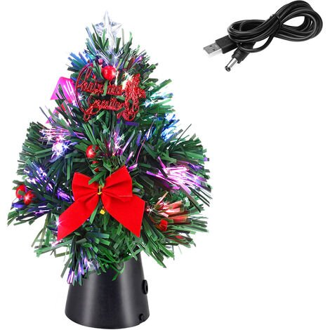 Christmas Tree Small Xmas Mini Artificial Decoration Tabletop Desk Office Decor USB Mini Tree