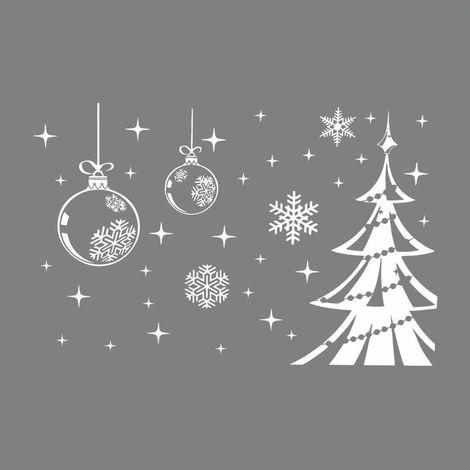 Christmas Tree Snowflake Stickers Window Decor Hasaki