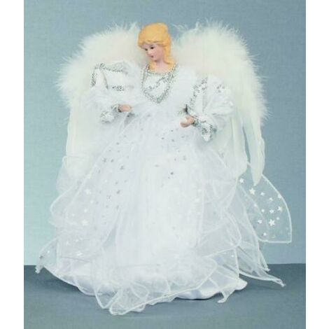 Christmas Tree Top 30cm Beautiful White Silver Xmas Angel / Fairy with Wings