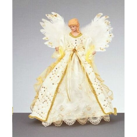 Christmas Tree Top 40cm Beautiful White Gold Xmas Angel / Fairy with Wings