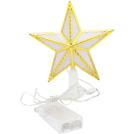"""main image of """"Christmas Tree Topper Ornaments for Xmas Christmas Tree Lighted Star Tree Topper USB & Battery Powered LED Treetop for Xmas Tree Party Decoration,model:Gold"""""""