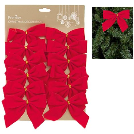 Christmas Tree Velvet Bows Red Decoration - 12 Pack - 12cm