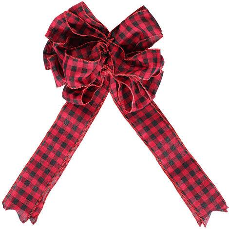 "main image of ""Christmas Treetop Bowknot Pendant Checker Cloth Bow Treetop Widget Christmas Decorations,model:Multicolor"""