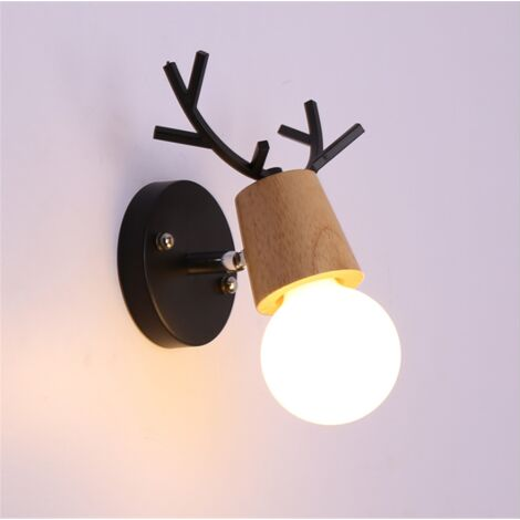 Christmas Wall Light Black E27 Retro Modern Wall Lamp Deer Wall Sconce Creative Antlers Wall Lamp Wood Metal Wall Light