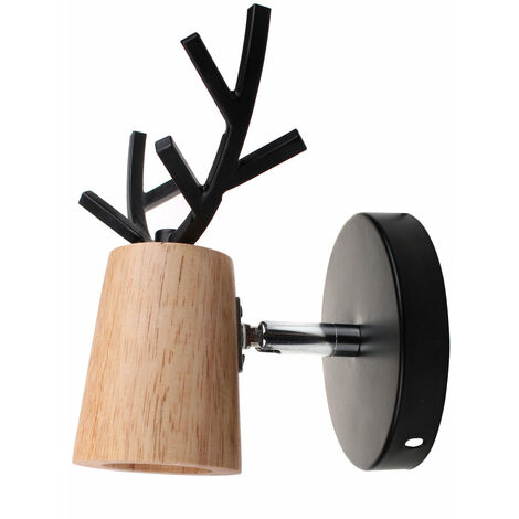 Christmas Wall Light E27 Retro Modern Wall Lamp Deer Wall Sconce Creative Antlers Wall Lamp Wood Metal Wall Light Black