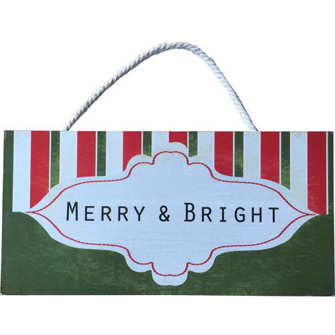 """Christmas Wall Plaque """"Merry & Bright"""""""