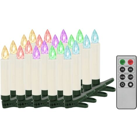 Christmas Wireless LED Candles with Remote Control 20 pcs RGB