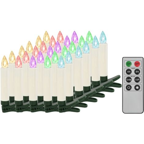 Christmas Wireless LED Candles with Remote Control 30 pcs RGB