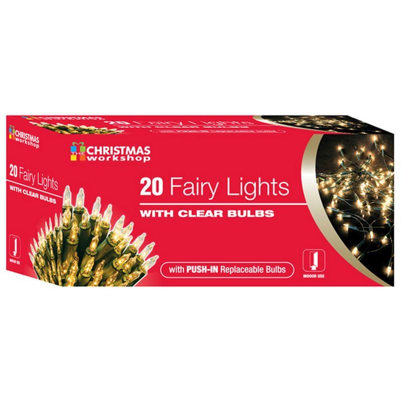 Image of Shadeless Fairy Lights (String Of 20) (UK Mains Plug) (One Size) (Warm White) - Christmas Workshop