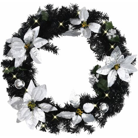 Christmas Wreath with LED Lights Black 60 cm PVC