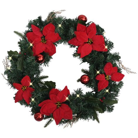 Christmas Wreath with LED Lights Green 60 cm PVC