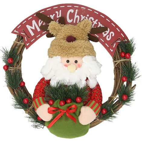 """main image of """"Christmas Wreaths with Cute Doll,Christmas Wreath Hanging Decor, Xmas Garlands Decoration Christmas Door Wreaths, Hanging Ornaments Decors for Home Shop Window Hall Christmas Tree Decors"""""""