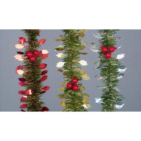 Christmas Xmas Tinsel Garland And Holly 2.7 Meter Long Varies Designs