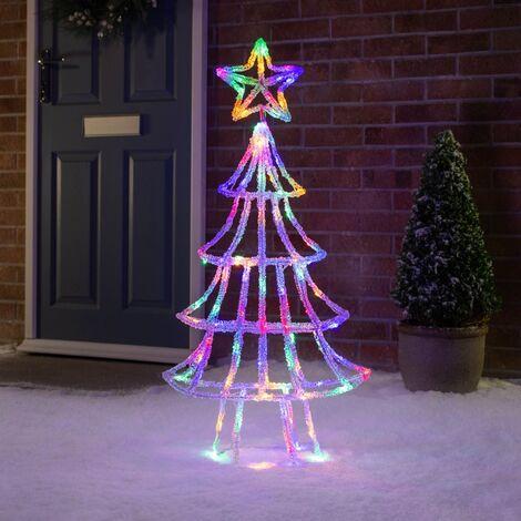 Christow 1m 3D Acrylic LED Christmas Tree