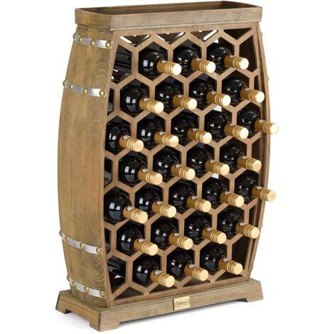 Christow 28 Bottle Rustic Wooden Honeycomb Wine Rack