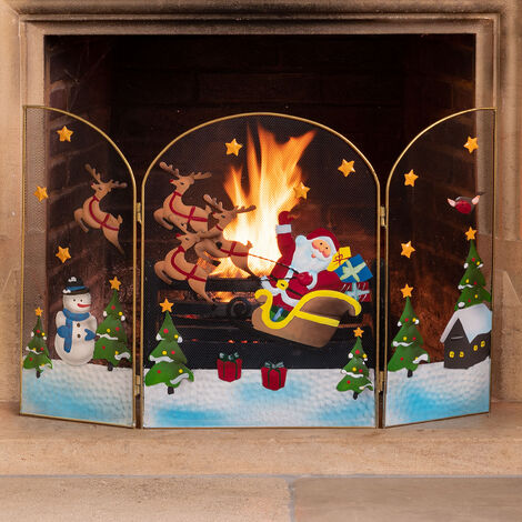 Christow 3 Panel Father Christmas Fireguard Santa Sleigh Snowman Screen